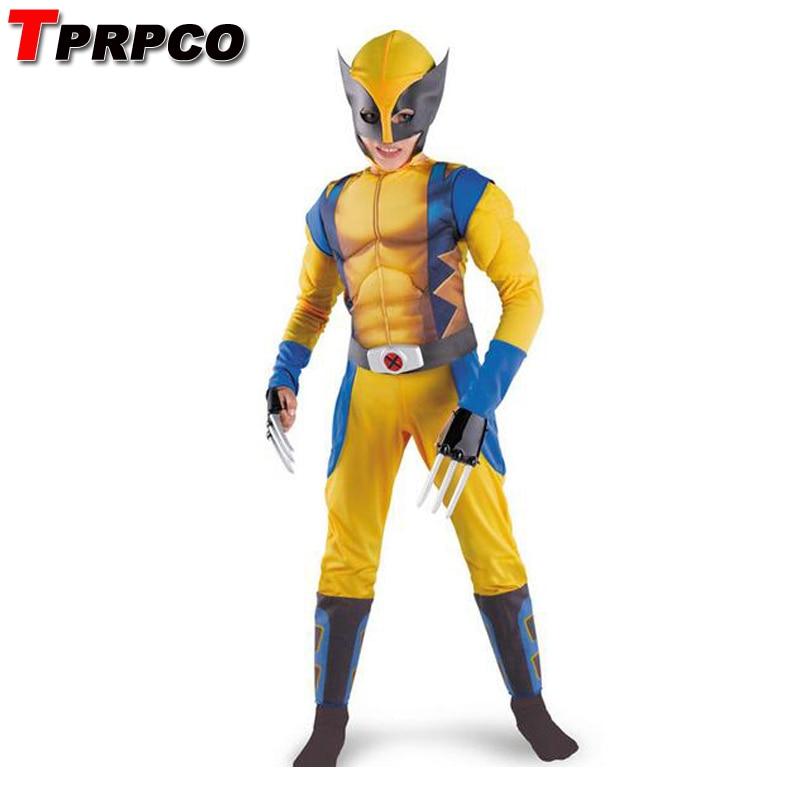 TPROCO Boys X-man Logan Origins Marvel Superhero Halloween Costumes Kids Carnival Party Performance Cosplay Clothing NL212