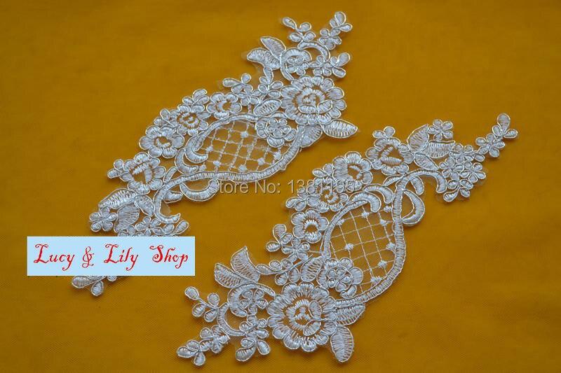 Trasparente paillettes decorazione con filo argento lace applique