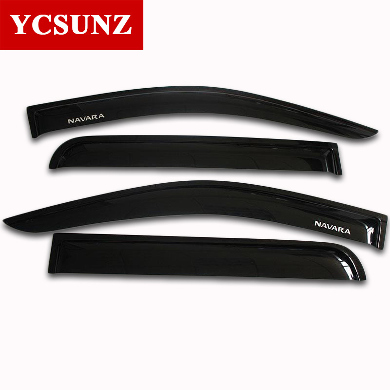 2014 2017 Car Wind Deflector For Nissan Navara Frontier D23 Black Window Deflector Guard For Nissan