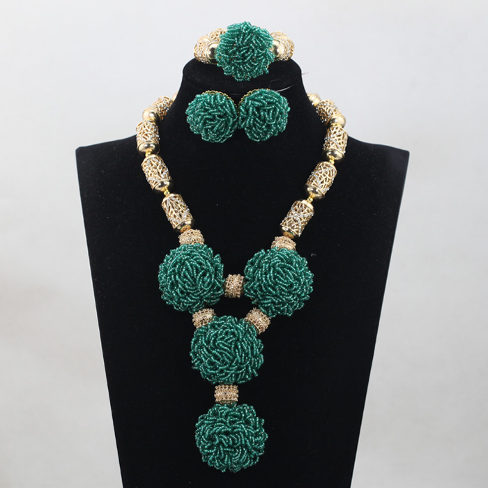 Trendy Bridal Jewelry Teal Green Seed Beaded African Jewelry Sets Handmade Bold Statement Necklace Jewelry Set Free Ship ABH245