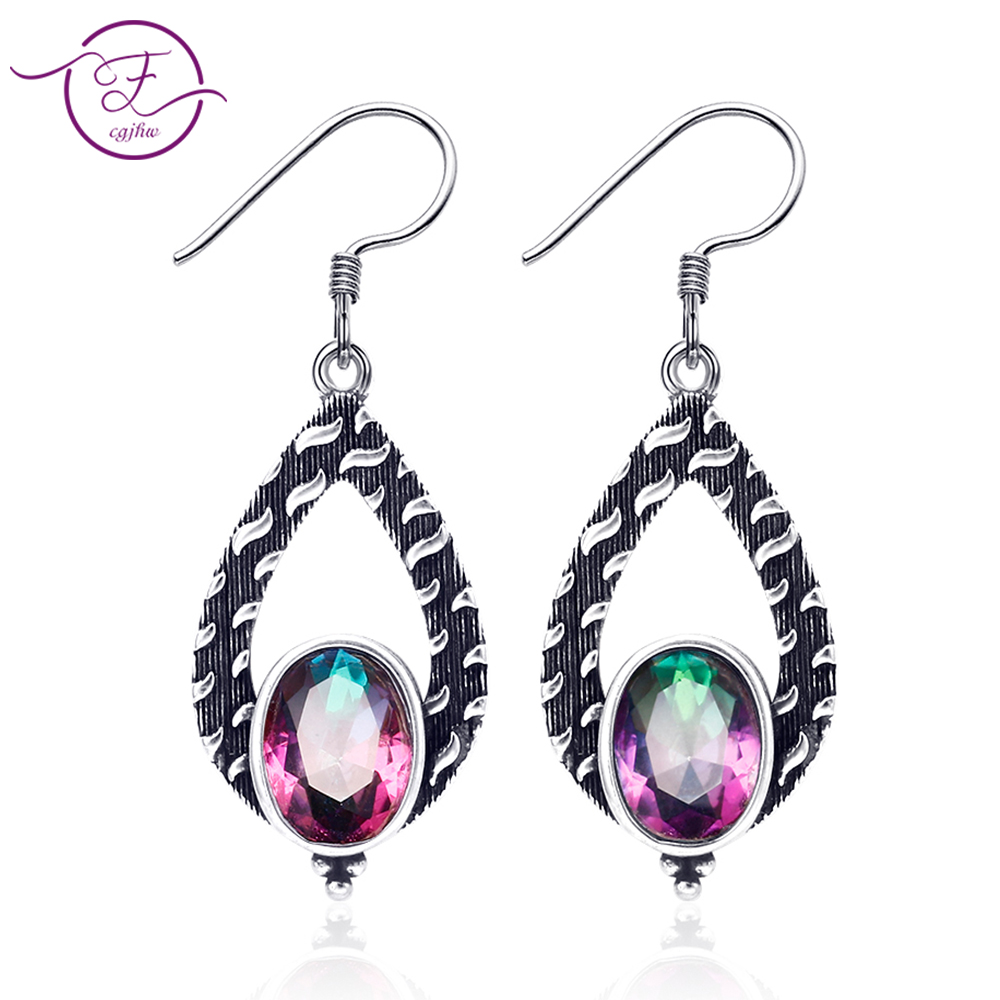 925 Sterling Silver Jewelry Earrings Natural Rainbow Fire Mystery Topaz Fashion Style Earrings Party Wedding Gift Party title=