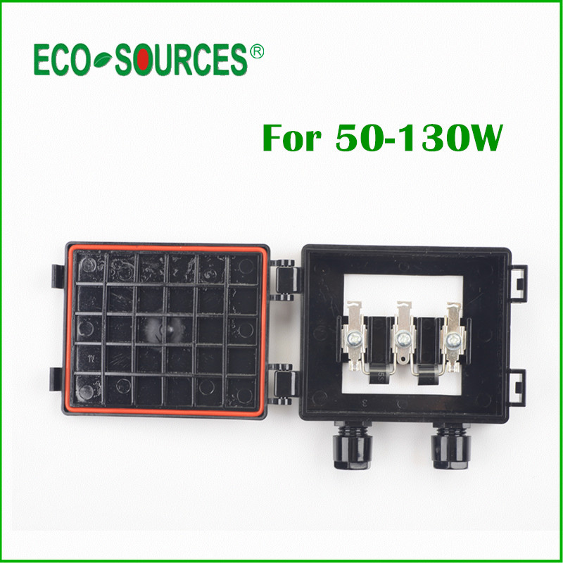 ECO-SOURCES 50-130W Solar Junction Box waterproof IP65 for Solar Panel connect PV Junction Box Solar Cable Connection With Diode