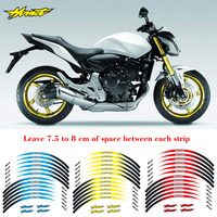 High quality 4 color Motorcycle For Honda Hornet 17 inch Tire 1set front&Rear Edge Outer Rim Sticker Wheel Decals Reflective