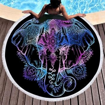 Bohemian Elephant Round Boho Indian Tassel Tapestry