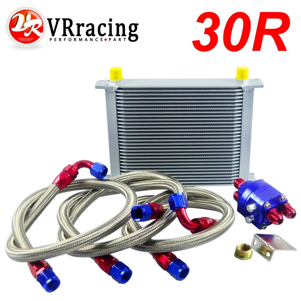 VR RACING - UNIVERSAL 30 ROWS AN10 ENGINE TRANSMISS OIL COOLER KIT +FILTER RELOCATION BLUE VR7030S+6724BR+3PCS epman universal 10 row oil cooler kit with oil filter relocation kit for turbo race ep ok1012