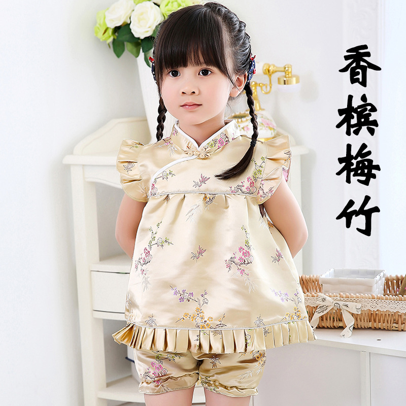 Red Peony Baby Girls Clothes Sets Chinese New Year Qipao For Children Tops Hot Shorts Floral Bebe Rompers Chi pao Cheongsams in Clothing Sets from Mother Kids
