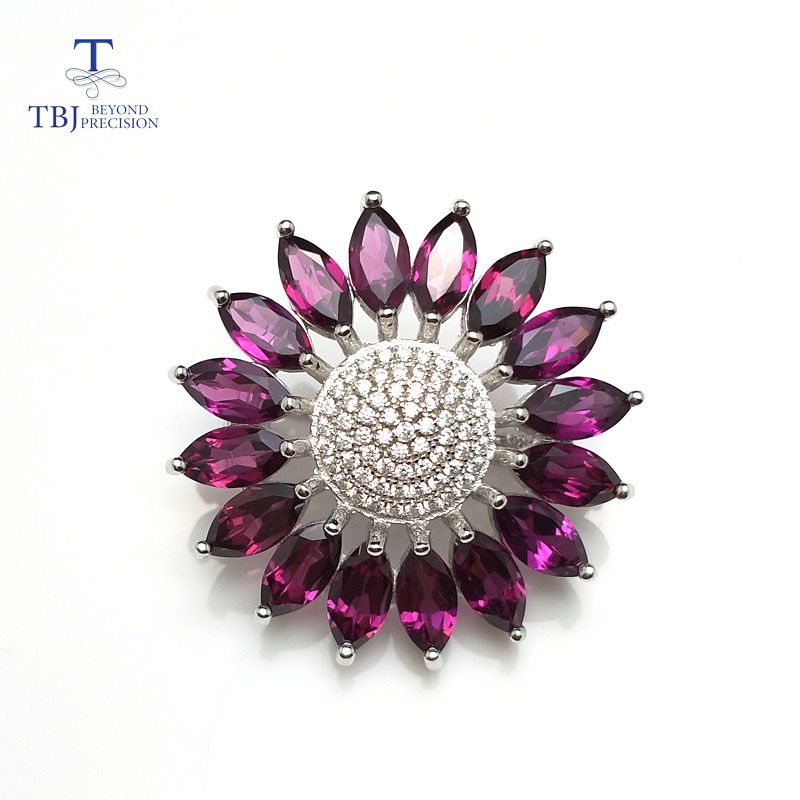 TBJ,Sunflower shape brooch & headgear with natural rhodolite garnet in 925 sterling silver for women,special gift for lady girls gorgeous star anchor shape brooch for women