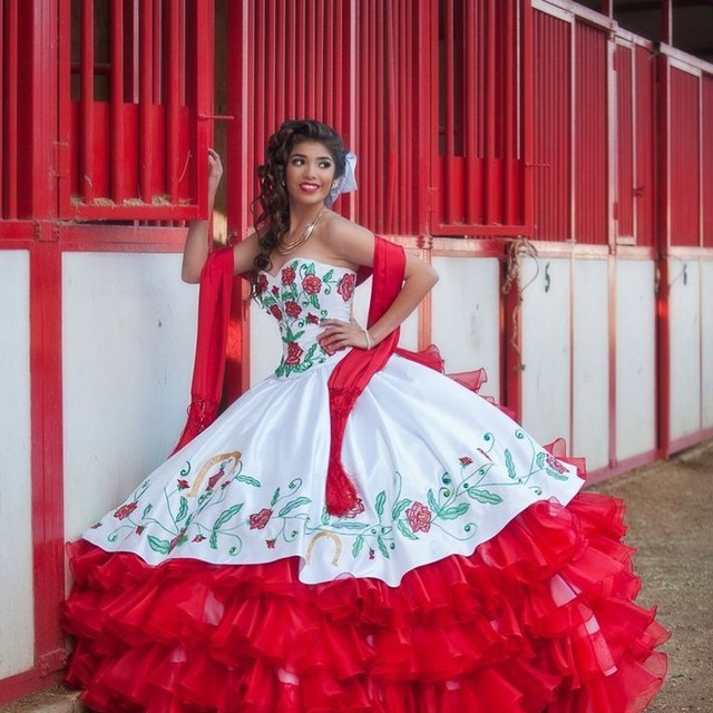 7429f7754f White   Red Sweetheart Floral Embroidery Quinceanera Dresses New Elegant Off  The Shoulder Organza Ball Gown Masquerade
