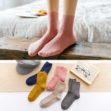 Winter Candy Color Soft Warm Wool Cotton Socks New Knitting Vertical Stripe for Women