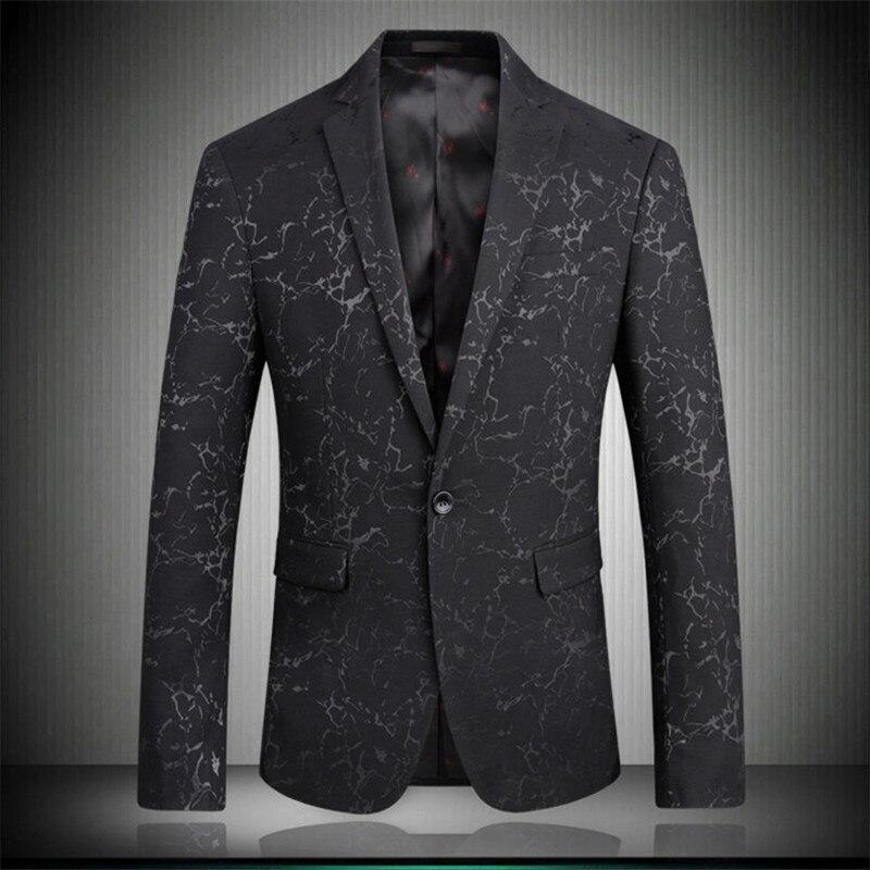 Black Britishs Style Men Blazers 2019 Autumn Double Pockets Male Slim Fit Fashion Grain Party Blazer S-XXXL 1705