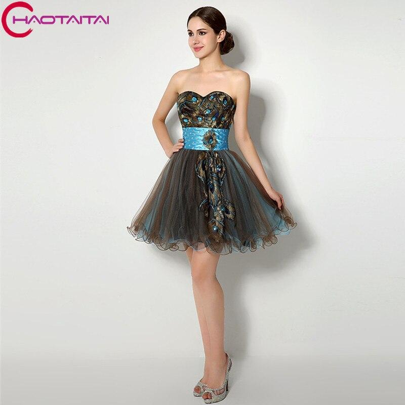 Homecoming Dress Black Short Mini Crystal Beading Sash Party Dresses Peacock Bridesmaid Cheap 2017