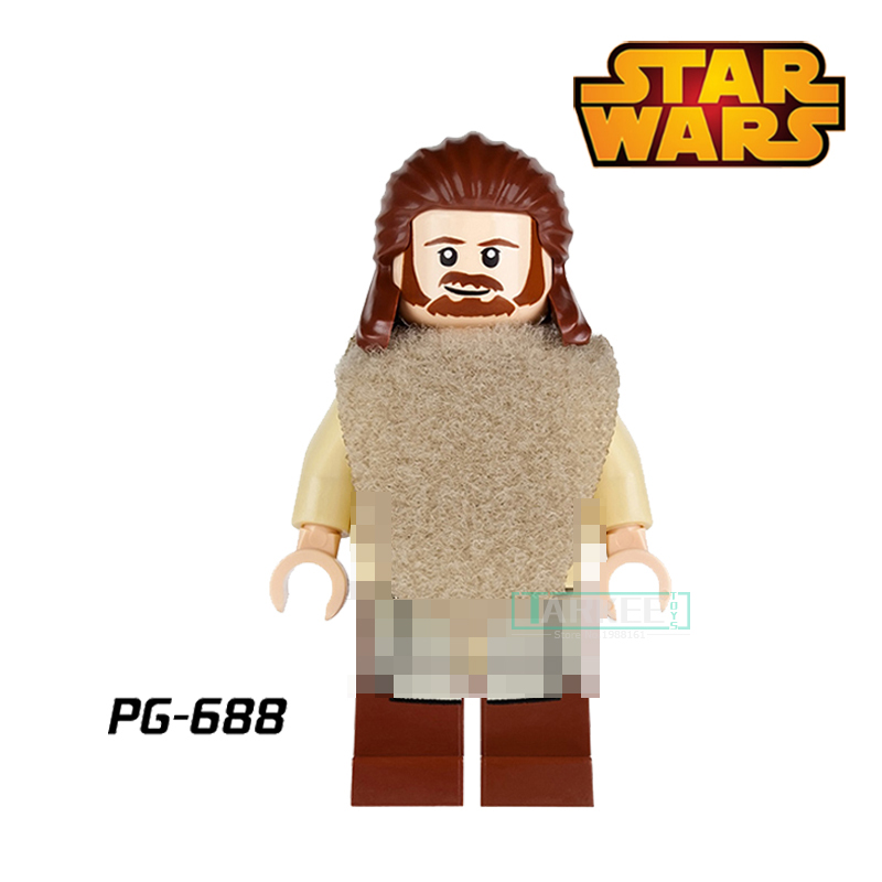 Building Blocks Qui-Gon Jinn With Green Lightsaber Jedi Knight Luke Star Wars diy figures Superhero Bricks Kids DIY Toys Hobbies