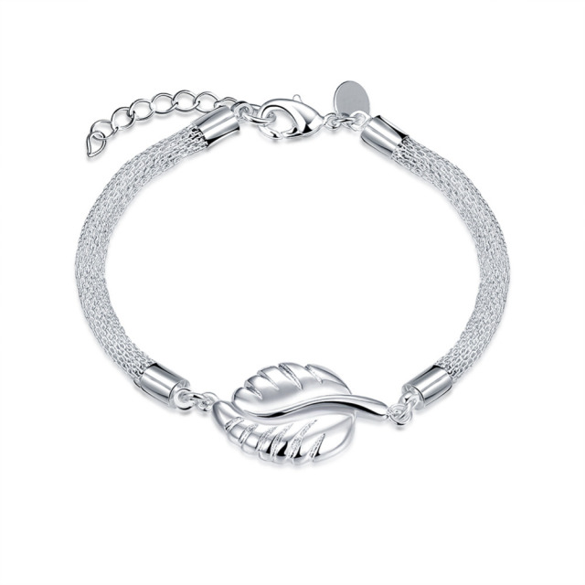 Jeexi New Fashion Women Bracelets Bangles Jewelry Accessory Leaf Design Silver Chain Party Birthday Bracelet Bijoux