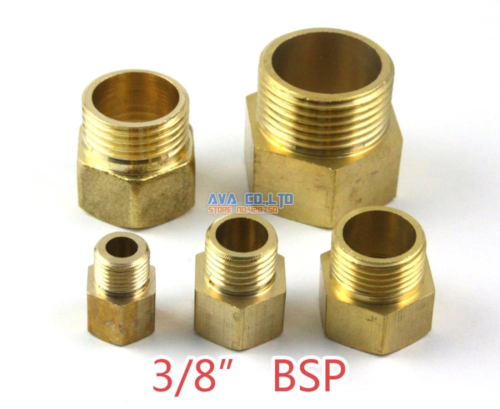 10 Pieces Brass 3/8 BSP Male to Female Pipe Fitting Adapter Fuel Air Gas Water Hose Connector Coupler