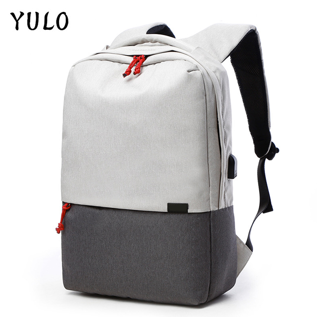 YULO Laptop Backpack For 15/16 inch USB charging Anti-theft Computer Backpacks Male Gray Bags Daypack Women Travel Bag Mochila usb charging backpacks casual travel men laptop backpack anti theft bags male gray daypack male mochila school bag