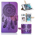 BTD Beautiful Dream Catcher Purple Phone Case for iphone 5 5S 5G Wallet Cover with Window Slot P007-5G