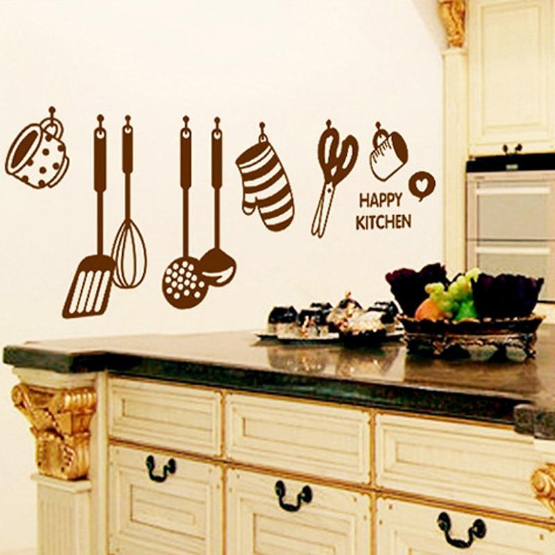 Brown Happy Kitchen Cooking Ware Wall Sticker DIY Cabinet ...