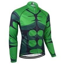 BXIO Invierno Maillot Ciclismo Verde Invierno Ciclismo Jersey de Costura transparente Camisa Larga Sólo Ropa de La Bicicleta Personalizada 141-J