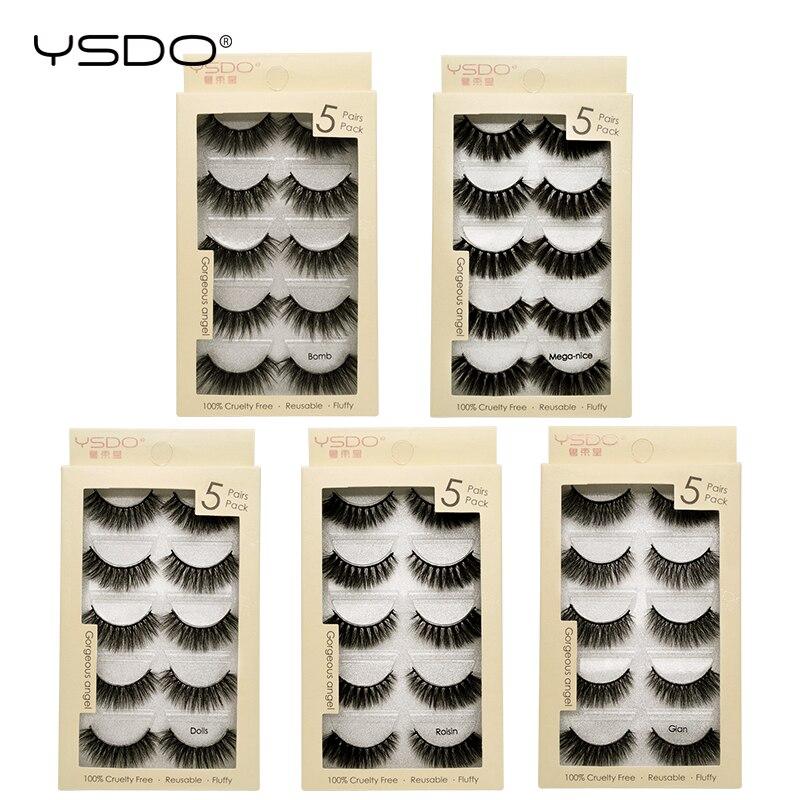 YSDO 5 pares mink cílios lashes maquiagem cílios tira 3d mink lashes natural longos cílios postiços cílios dramáticos 5S