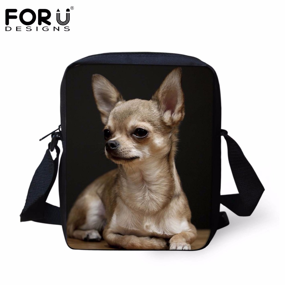 FORUDESIGNS Women Small Cross-body Bag Tote 3D Chihuahua Dog Woman Fashion Messenger Bags For Ladies Shoulder Bolsas Mochilas forudesigns candy color small handle bag woman casual handbag for girls luxury woman s leather handbags ladies cross body bolsas