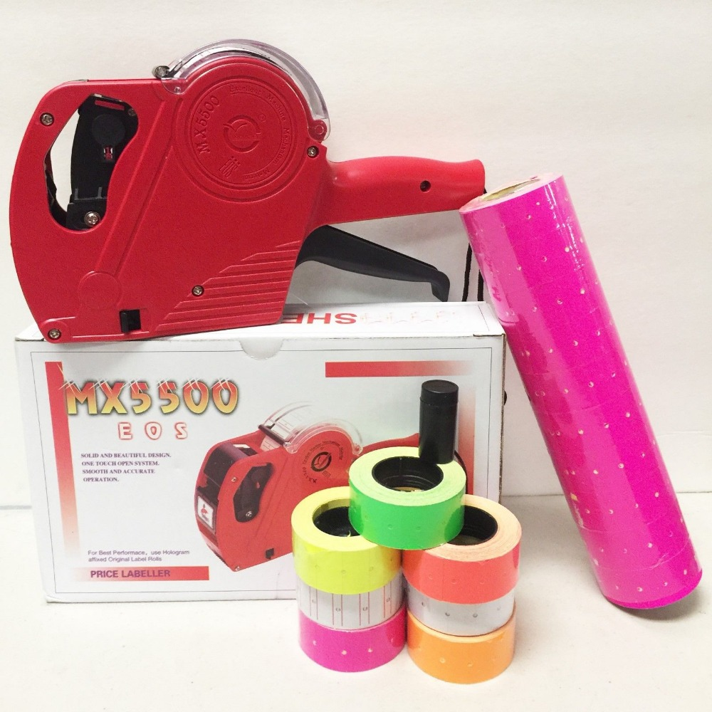 Fly Eagle MX 5500 EOS 8 Digits Price Tag Gun Labeler Labeller 5000 PINK labels 1 Ink in Tag Guns from Home Garden