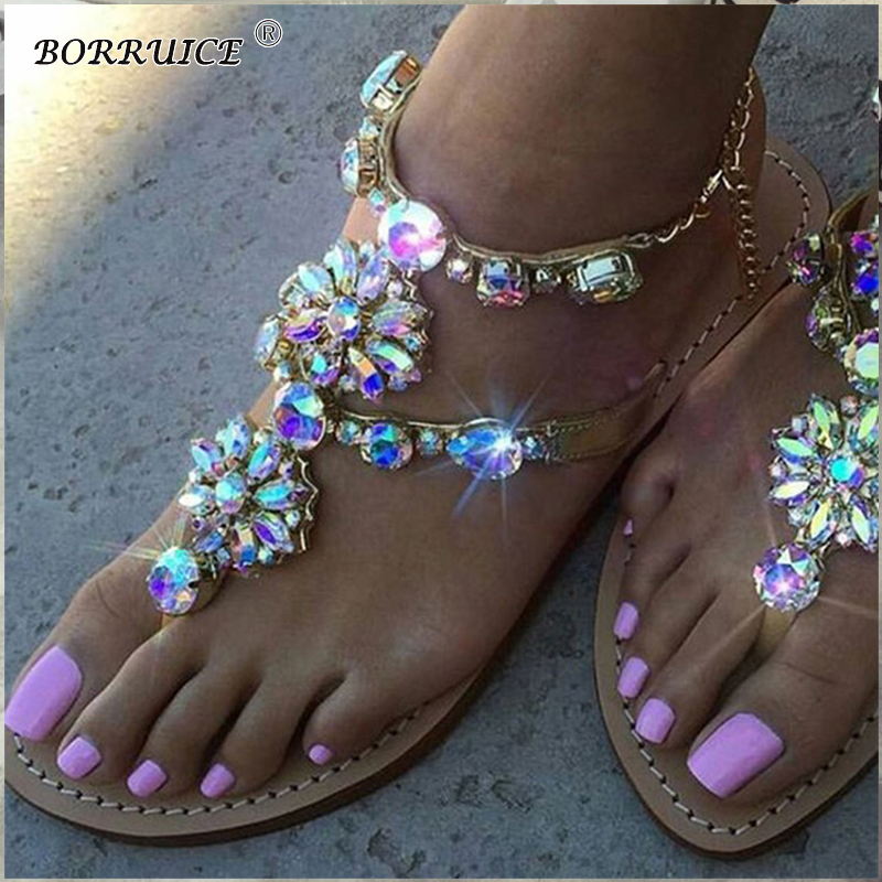 BORRUICE 2018 Women Sandals Strange Shoes Rhinestones Chains Thong Spot Women's Shoes Diamond Flat Sandals Large Size Feminino