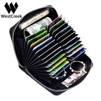 Westcreek Brand Men Organizer RFID Credit Card Holder Large Capacity Retro Women Passport Business Card Case