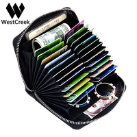 Westcreek Brand Men Organizer RFID Credit Card Holder Large Capacity Retro Women Passport Business Card Case