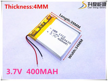 Free shipping Polymer battery 400 mah 3.7 V 403439 smart home MP3 speakers Li-ion battery for dvr,GPS,mp3,mp4,cell phone,speaker(China (Mainland))