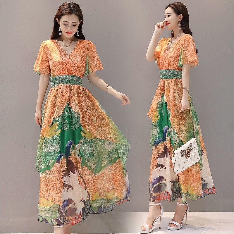 Été femmes 2019 nouvelle bohème plage fleur imprimer longues robes femme Slim grande taille 4XL en mousseline de soie Maxi robe Vestido