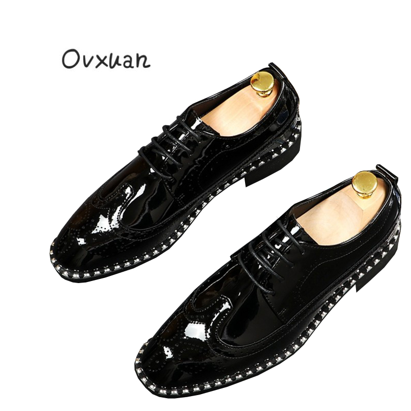Ovxuan Glitter Carved Patent Leather Brogue Business Formal Dress Men Shoes Office Wedding Mens Shoes Casual Italian Loafers italian designer formal men dress shoes genuine leather flat shoes for office career shoes men business leather shoes 010 169