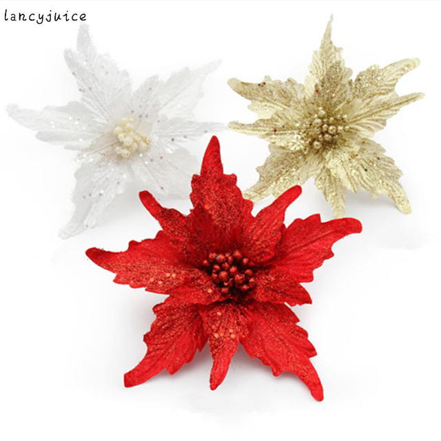 pteris christmas artificial flower christmas tree pendant new year christmas ornaments for home christmas decoration gift - Flower Christmas Ornaments