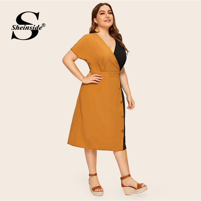 Sheinside Plus Size Elegant V Neck Colorblock Straight Dress Women 2019 Summer High Waist Dresses Ladies Button Detail Dress 4