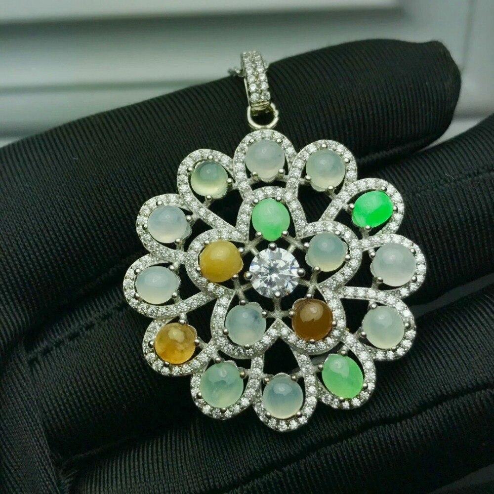 KJJEAXCMY boutique jewelry,925 pure silver inlaid Jade Jadeite Pendant + Necklace C kjjeaxcmy boutique jewelry 925 pure silver inlaid jade jadeite pendant necklace b