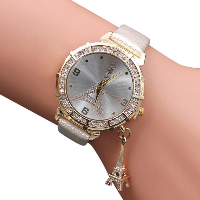 Watch Women Quartz Wrist The Eiffel Tower Rhinestone pendant Wristwatch Bangle Bracelet relogio masculino reloj hombre 17Jun20 eiffel tower charm bangle