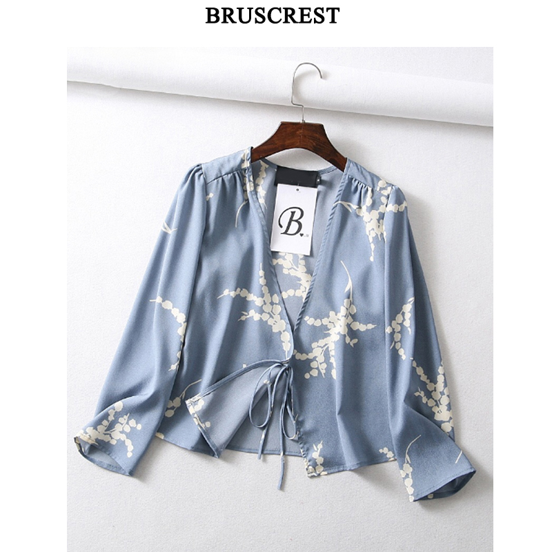 Womens tops and blouses blue floral blouse long sleeve shirt v-neck summer top korean blusas casual clothes womens clothing
