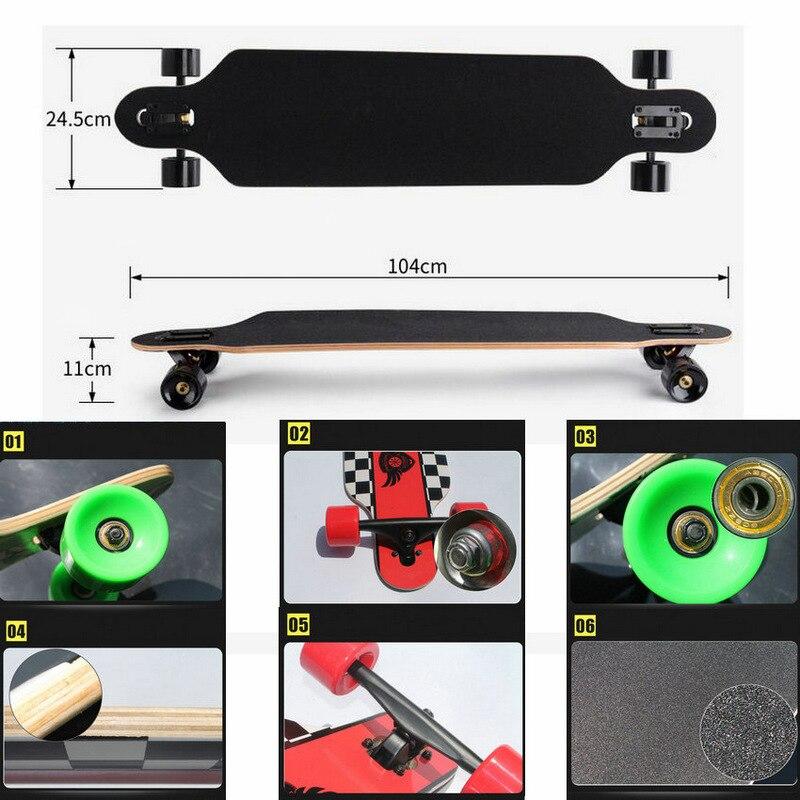 Professionnel Complet Longboard Planche À Roulettes à Quatre roues Maple Street Danse Longboard Planche À Roulettes - 6
