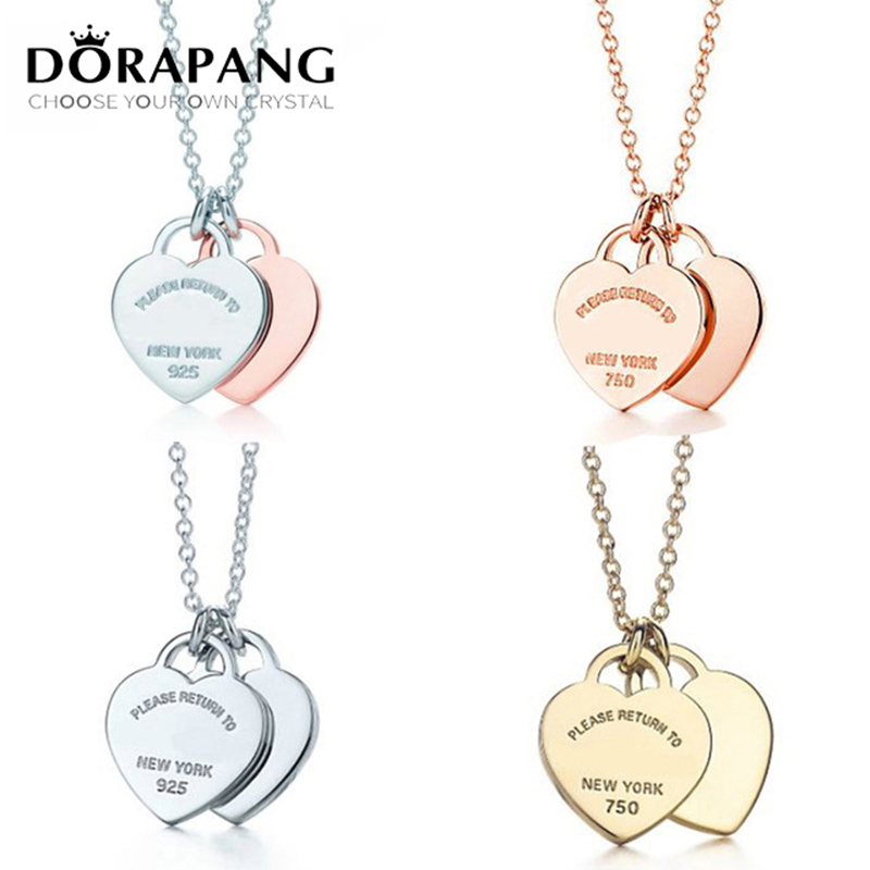 DORAPANG 100% 925 Sterling Silver High Quality Products Necklaces Hearts Linked Together Elegant Female Jewelry Free Mail