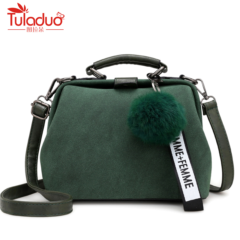 Fur Ball Women Handbags High Quality PU Leather Women Crossbody Bags Fashion Tassel Women Messenger Bags Doctor Bags For Ladies