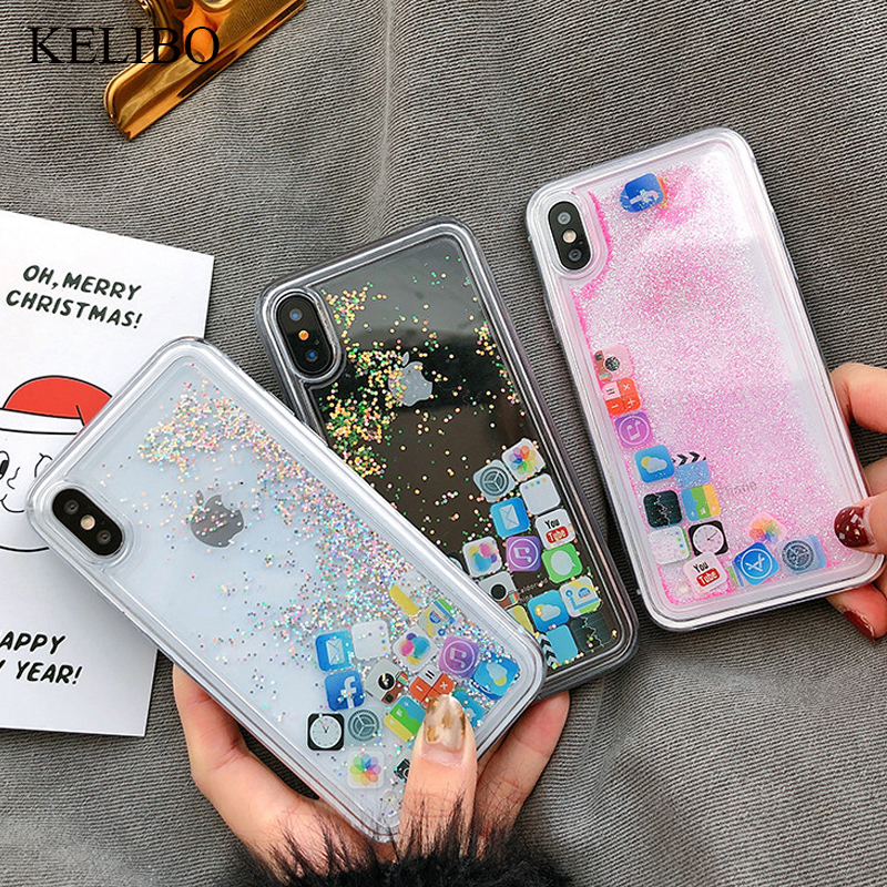 For iPhone 8 Liquid Hard PC Clear Phone Shell For iPhone 6 6S 7 Plus X XS XR 11 Pro MAX Cases Quicksand Cover Cute APP icon Case image