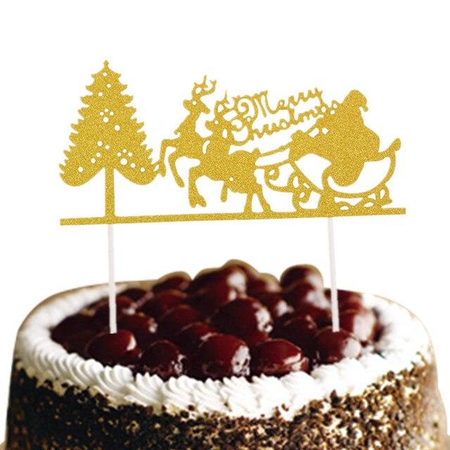 Gateau De Fete De Noel.0 75 15 De Réduction Gâteau De Noël Drapeaux Santa Claus Elk Joyeux Noël Gâteau Topper Glittler Arbre De Noël Gâteau De Fête De Cuisson Décor De