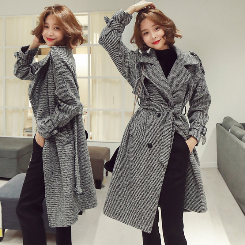 Korean Houndstooth Long Wool Coat Elegant Women Double breasted Lapel Collar Sashes Pocket Plaid Loose Thick