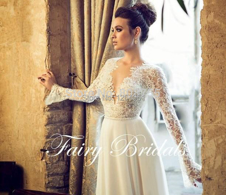 V profundo cuello una línea vestido de boda de encaje ilusión de ...