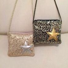 Sequins Pentagram Girls Inclined Shoulder Bag 14*11.5cm Children Zipper Mini Change Purse