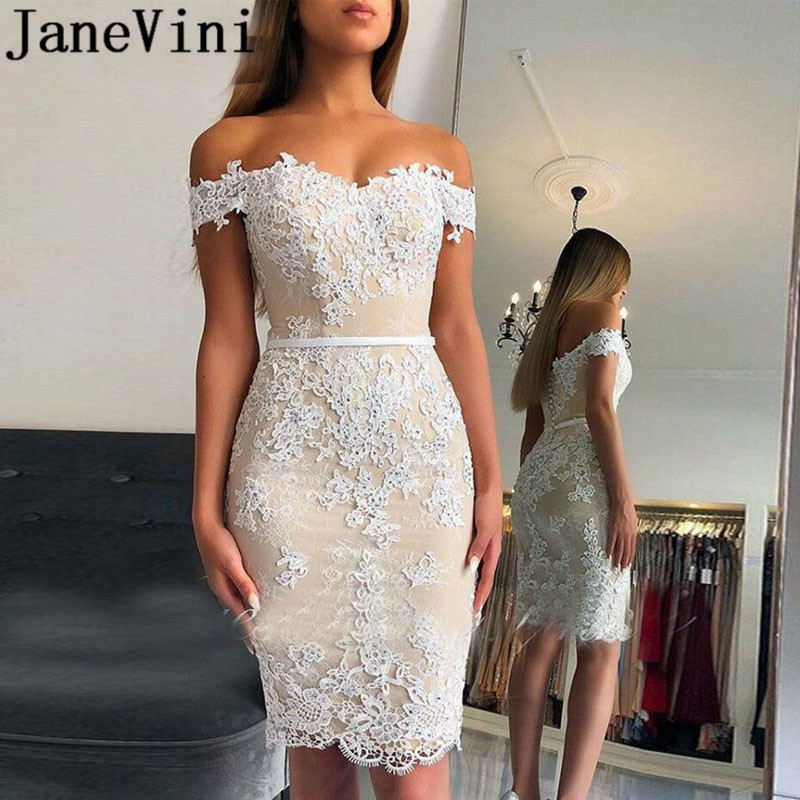 JaneVini Light Champagne Beaded   Cocktail     Dresses   Knee Length Short White Lace Applique Sweetheart Women Tight Fitted Party   Dress