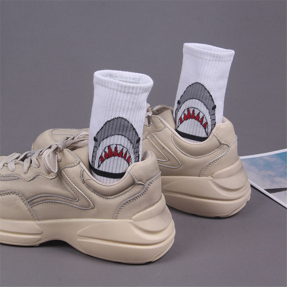 Men Casual Cotton Socks Cartoon Shark Fashion Hip Hop Style New Women Socks Skateboard Sporty Korea Animal Student Funny Sox in Men 39 s Socks from Underwear amp Sleepwears