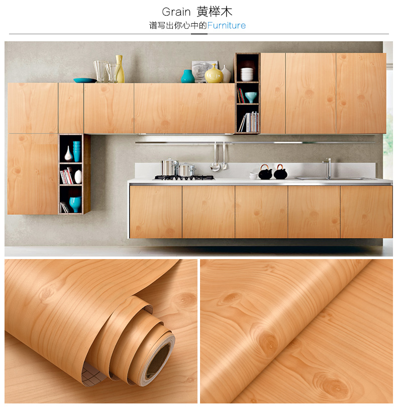 Thick white wood paste stickers Boeing film pvc waterproof self-adhesive wall paper wardrobe cabinet door furniture renovation waterproof pvc wood stickers boeing film mediterranean self adhesive wallpaper kitchen wardrobe cabinet old furniture renovation