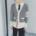 Men's houndstooth cardigan spring autumn slim fit fashion casual man sweater coat stripe splice cardigan knitwear coat M921