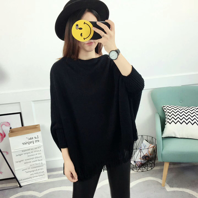 New Autumn Gray Pullovers And Sweaters Loose Tassel Soft Shawl Poncho Women Slash Neck Bat Long Sleeve Pullover Sweater Shawl 4