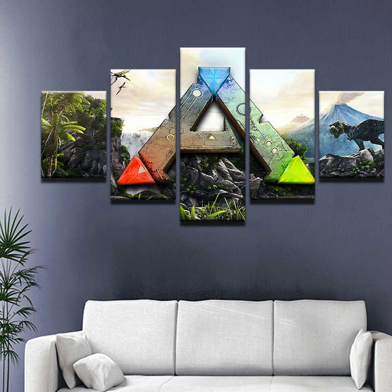 ARK: Survival Evolved Game 5 Panel Canvas Printed Painting For Living Room Wall Art Home Decor HD Picture Artworks Poster